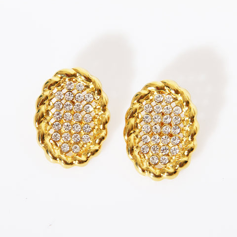 Valentino Crystal Oval Clip On Earrings