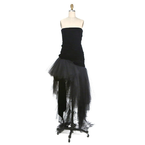 HAUTE COUTURE VELVET & LACE COCKTAIL DRESS circa 1980s
