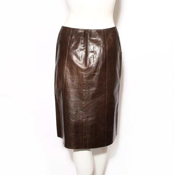 Chanel A-line Leather Skirt