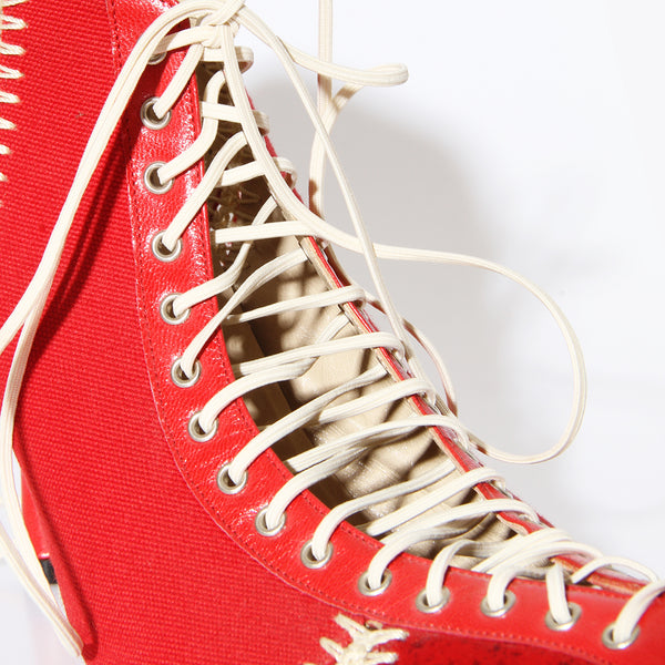 Versace Lace-Up Stiletto Booties