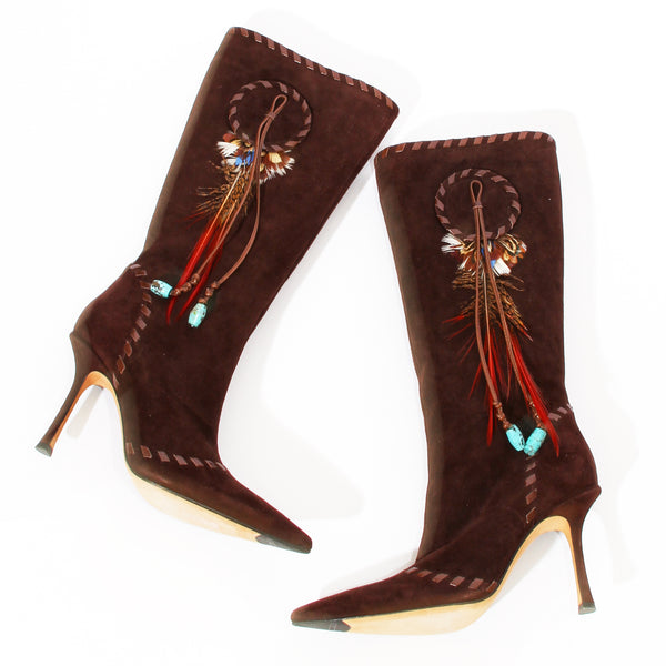 J Choo Suede and Feather Boot