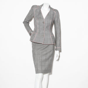 Dior Mixed Houndstooth Skirt Suit
