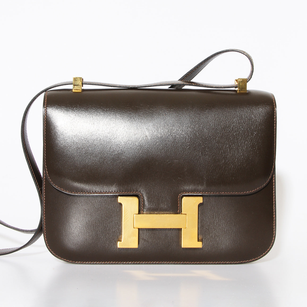Vintage 1979 Hermes Constance 23 Chocolate