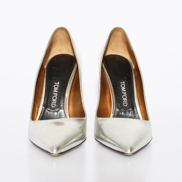 Tom Ford Metallic Silver Pumps