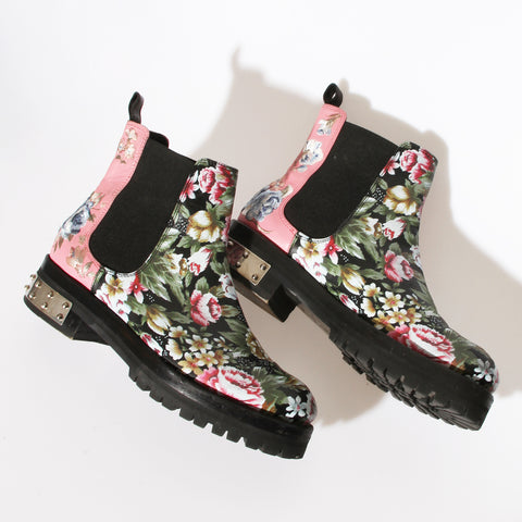 McQueen Floral Chelsea Boots