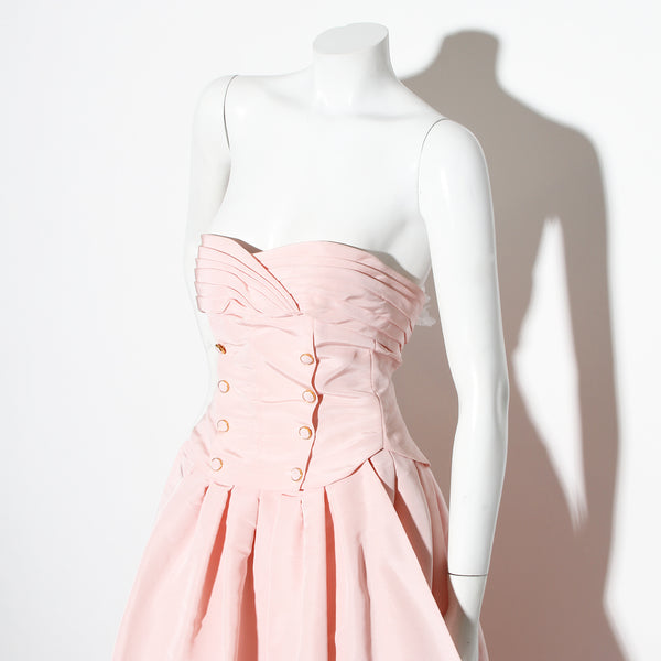 Chanel Strapless Pleated Gown
