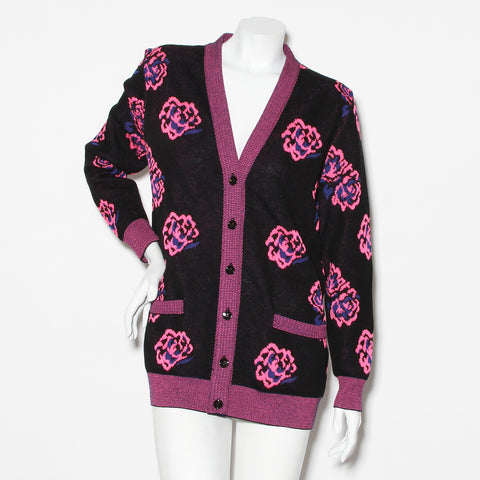 Saint Laurent Floral Knit Cardigan