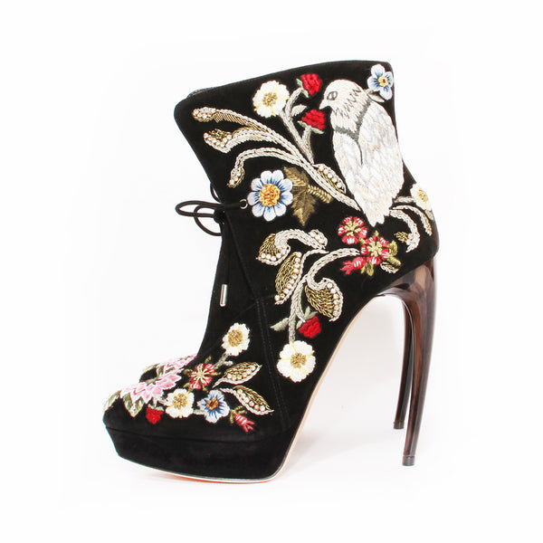 McQueen Suede Embroidered Boot