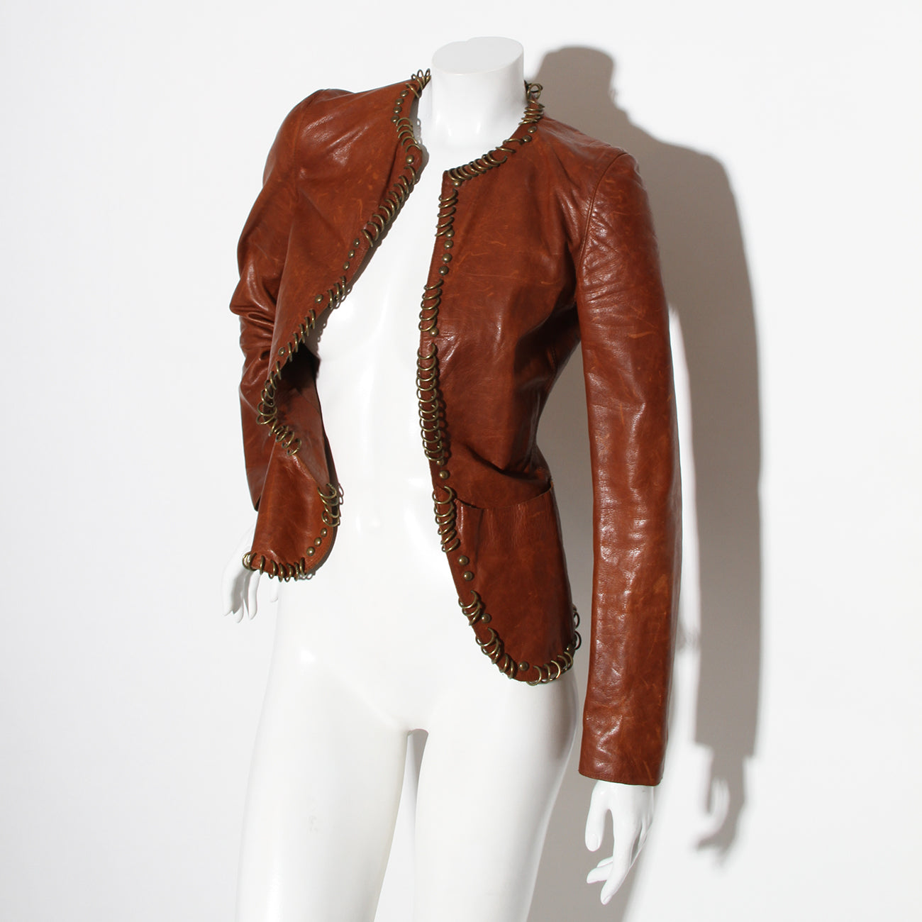 YSL Ring Embellished Cognac Leather Jacket