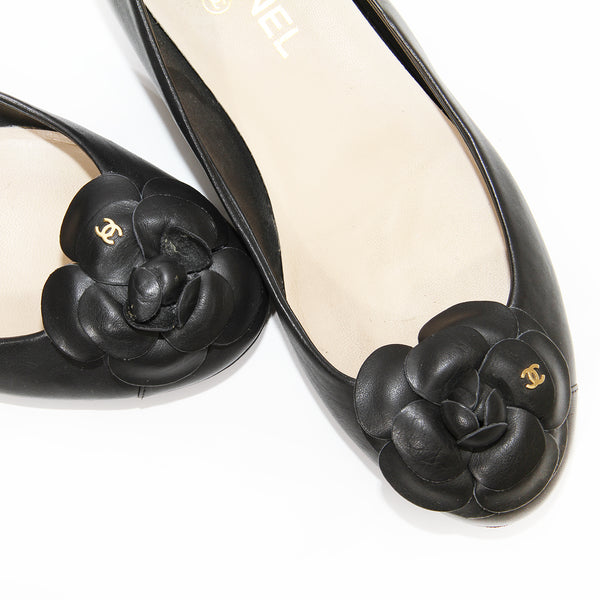 Chanel Camelia Leather Flats