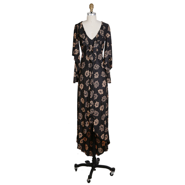 Vintage Floral Print Peasant Dress
