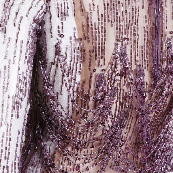 Sheer Purple Gown with Draped and Tiered Beading