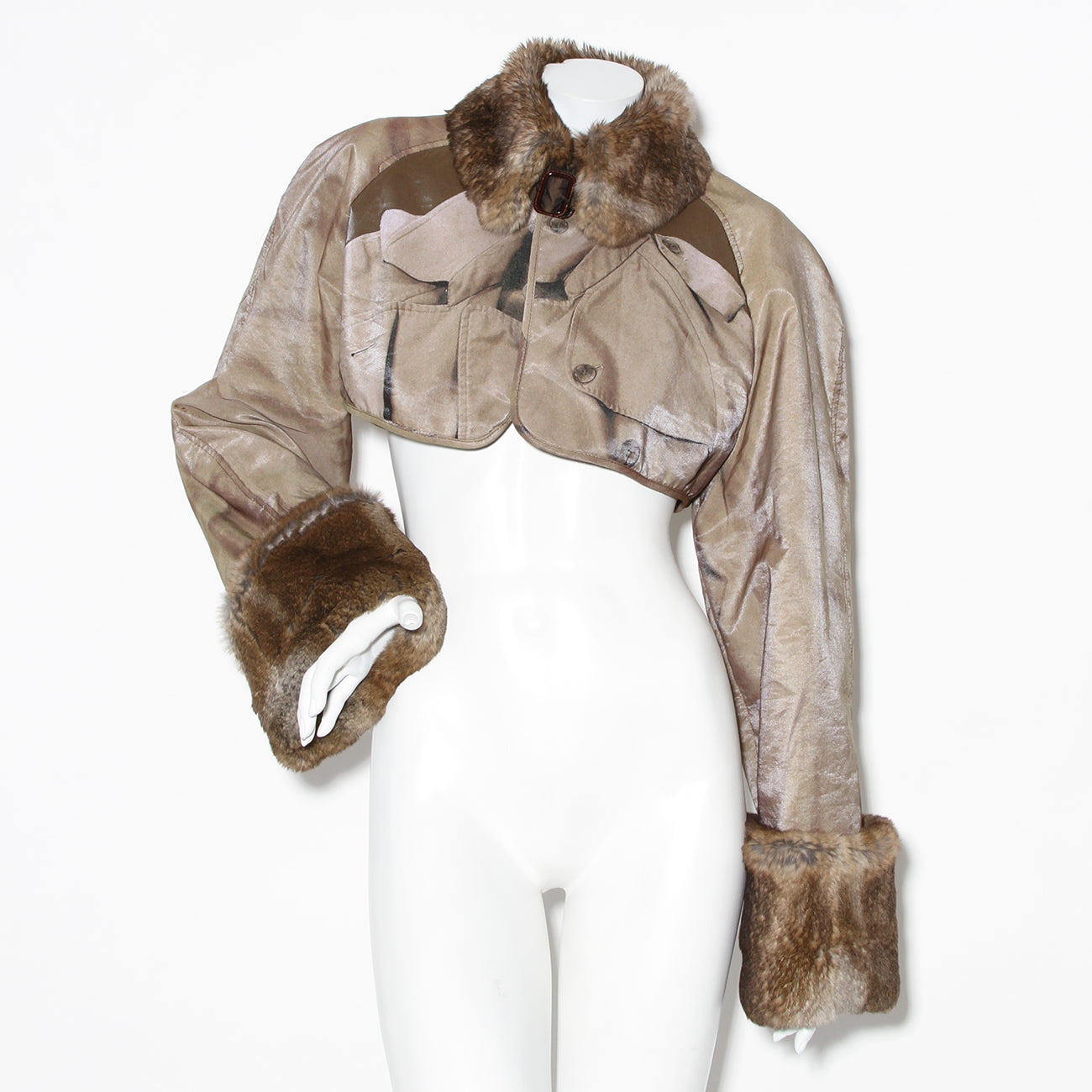 JPG Print and Fur Crop Jacket