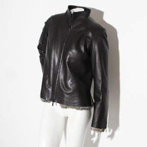 Gucci Tom Ford Leather Fur Trim Jacket