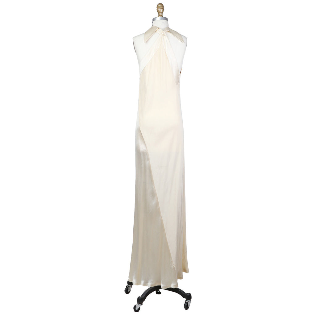 SATIN CREPE HALTER GOWN Circa late 1960s/early 1970s