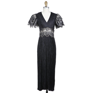 Pleated Lace Dress with Oversized Tiered Sleeves circa 1980s