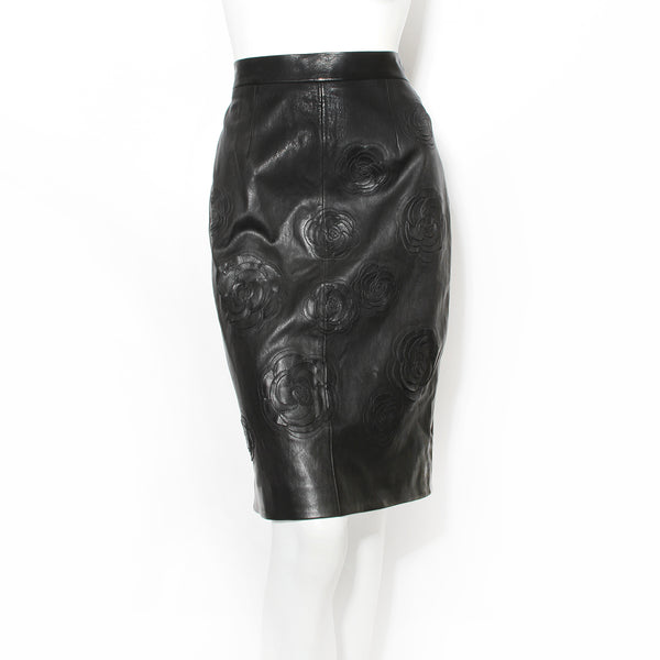 Chanel Floral Leather Skirt