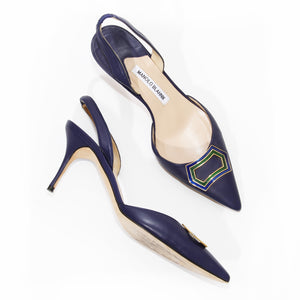 Manolo Leather Slingback