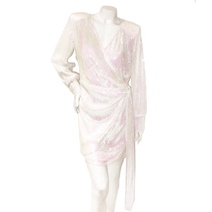 The Andamane White Iridescent Sequin Wrap Dress
