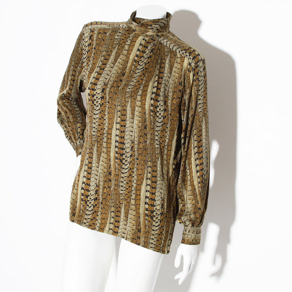 Escada Silk High Neck Printed Blouse