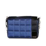 Blue and Black Quilted Silk Satin Bag