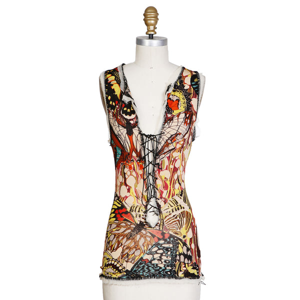 Butterfly Print Jersey Top with Lace Up Front