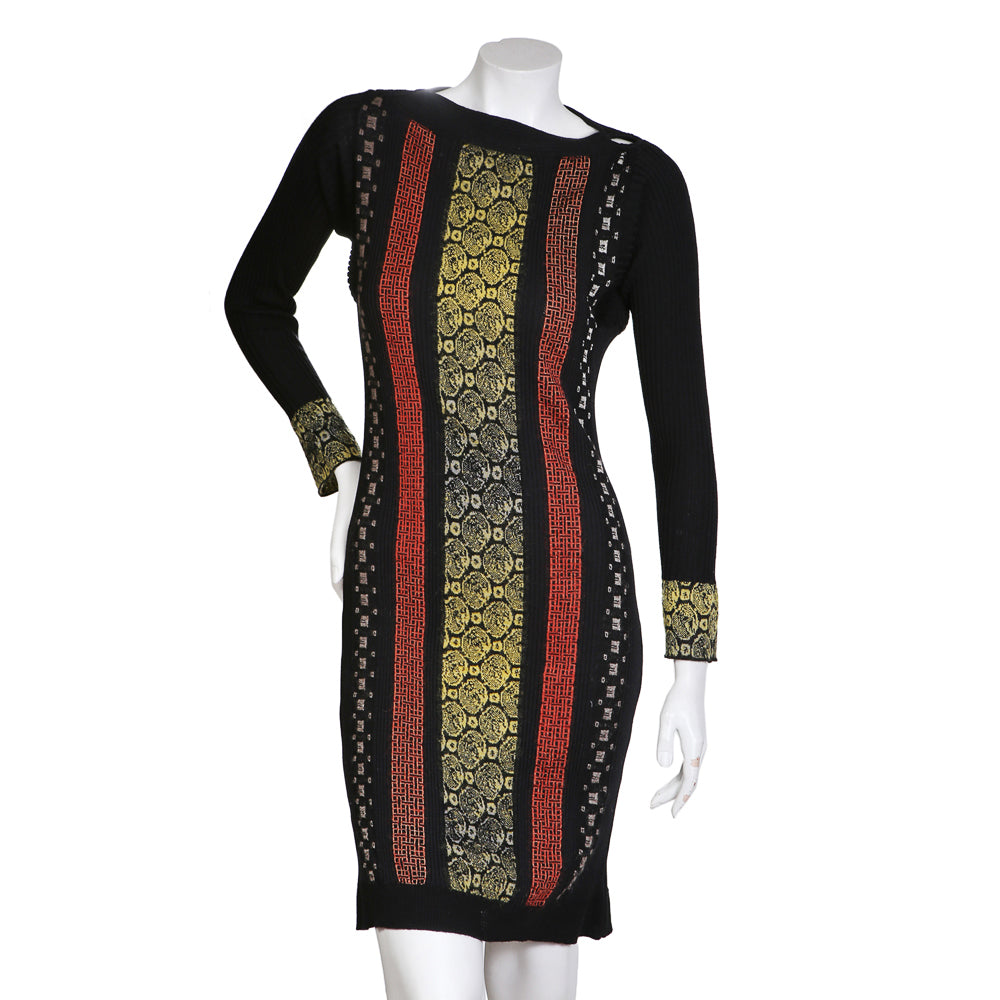 Knit Dress with Vertical Geometric Print Stripes