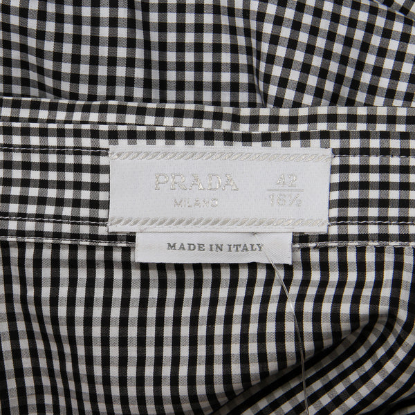 Prada Plaid Ruffle Shirt