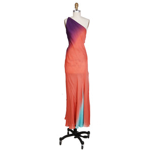 Coral Silk One Shoulder Gown with Low Open Back