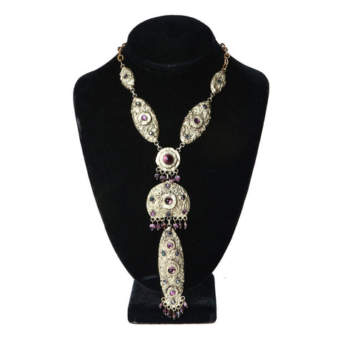 Gilt Metal and Gem Necklace