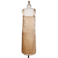 Vintage Quilted Dress in Champagne Silk Satin