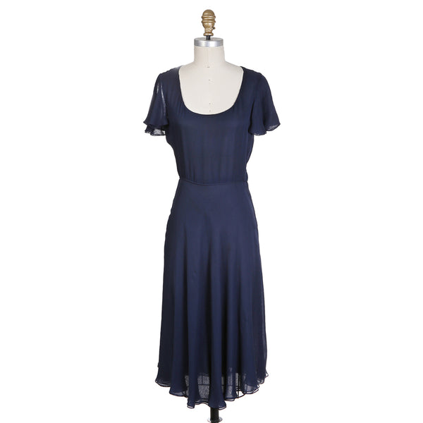 Vintage Navy Silk Dress with Butterfly Sleeve