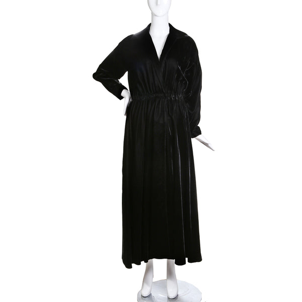 Vintage Black Velvet Wrap Dress