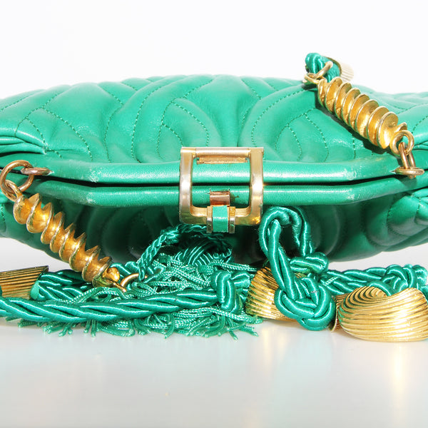 Fendi Green Quilted Leather Handbag