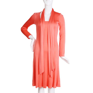 Vintage Coral Stretch Jersey Ballet Dress with Matching Scarf