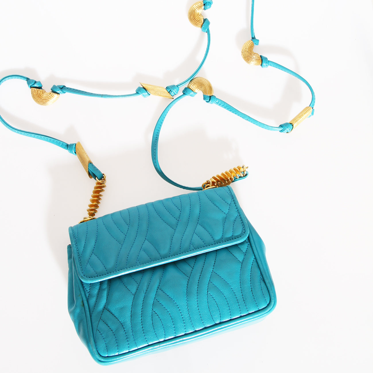 Fendi Turquoise Quilted Leather Handbag