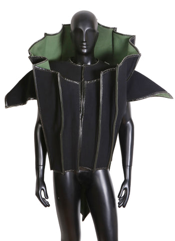 Couture Architectural and Structured Jacket in Black and Green Wool