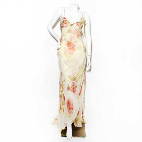 J Mendel Floral Bias Cut Dress