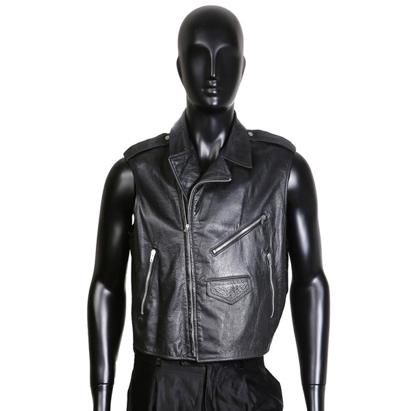 Sleeveless Leather Motorcycle Jacket with Marlon Brando Portrait