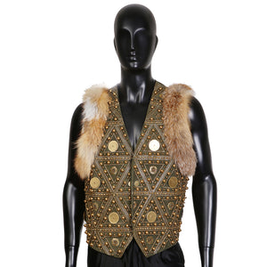 Embellished Green Leather Vest with Fur Trim
