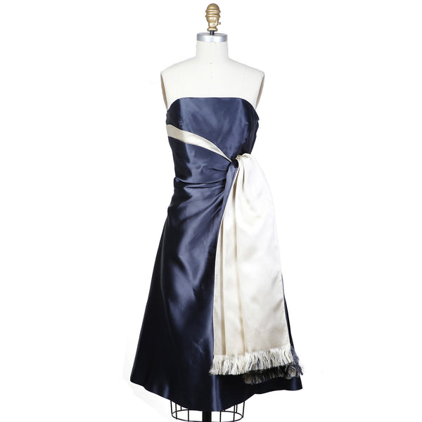 Two-Tone Silk Satin Cocktail Dress circa late 1950s