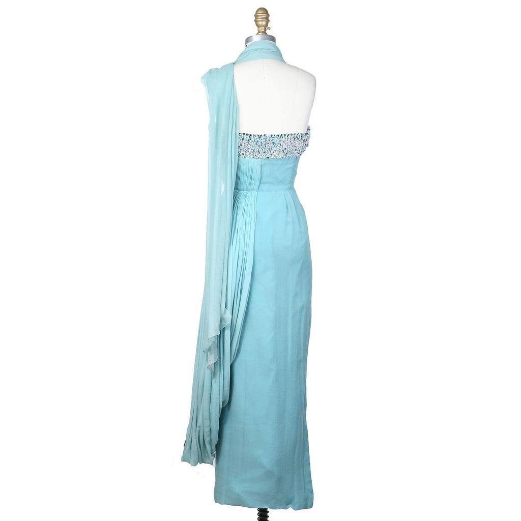 Gathered Dress with Looped Beads Detailed Bodice circa late 1950s