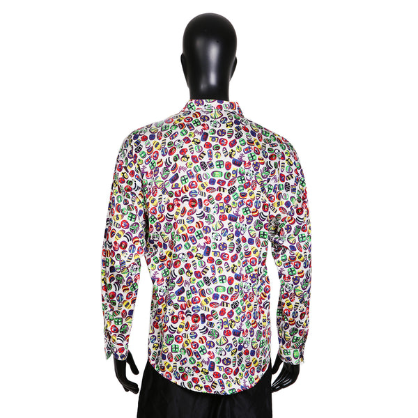 Graphic Print Cotton Button Up Shirt