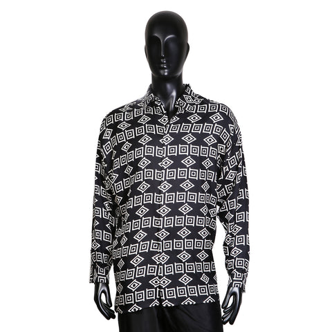 B&W Geometric Print Silk Twill Button Up Shirt
