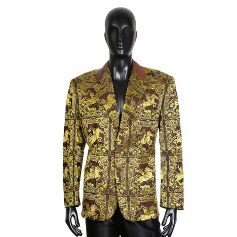 Chartreuse Metallic Lace Horse Blazer