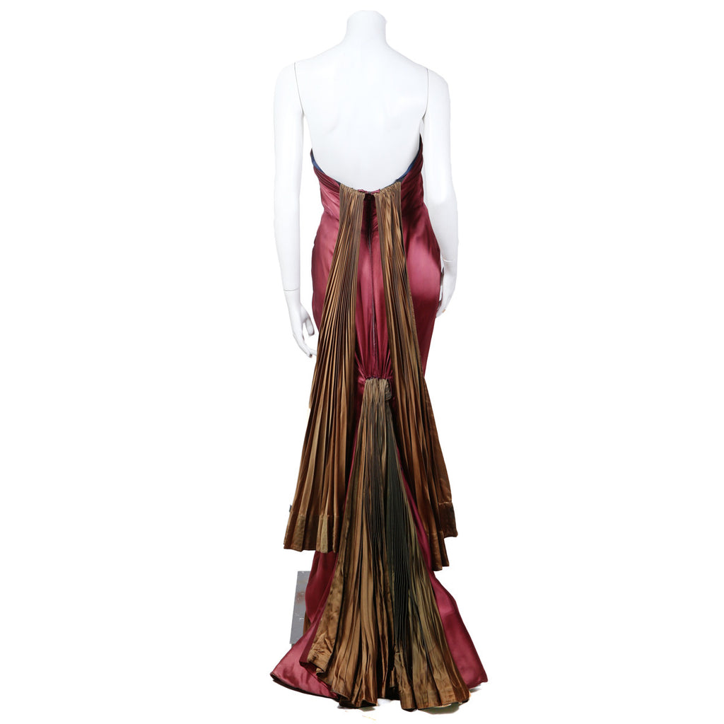 HAUTE COUTURE WINE SATIN STRAPLESS GOWN WITH PLEATED FAN TRAIN 1947