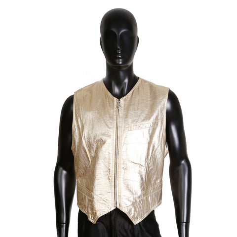 Gold Leather Vest with Embossed Croc Pattern