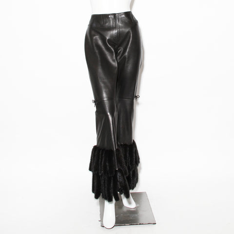 Gucci Mink Trim Leather Pants