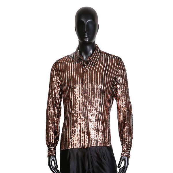 Pin Stripe Collared Shirt in Copper and White Sequins