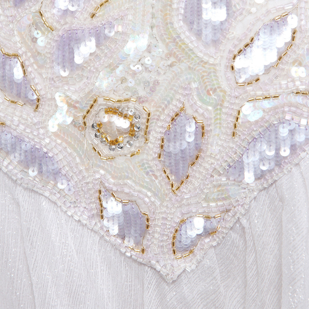 Sequin Bodice Princess Cut Chiffon Dress circa 1980s